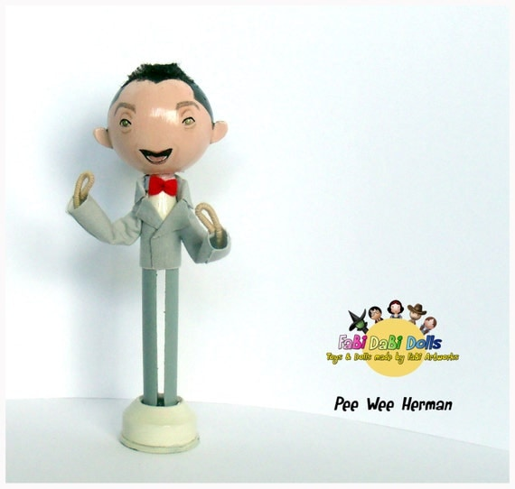 pee wee herman collectible peg doll from fabi dabi by totallyfabi. Black Bedroom Furniture Sets. Home Design Ideas