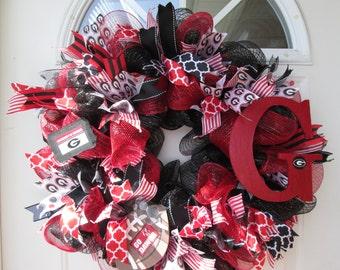 UGA Wreath, University of Georgia Wreath, Front Door Wreath, Collegiate Wreath, SEC Wreath