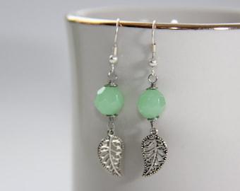 Mint Bead Leaf Earrings
