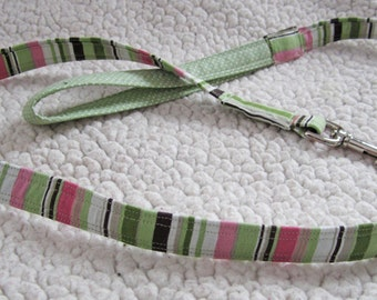 "Pink and Green  Striped Dog Leash With Brown & White - ""The Tilo"""