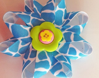 Bright Blue Dog Collar Flower Bow for Girl Dog