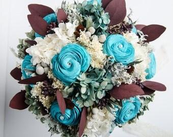 Rustic Turquoise Bridal Bouquet, Woodland Bridal Bouquet, Sola Flower Bridal Bouquet, Preserved Bridal Bouquet, Keepsake Bouquet