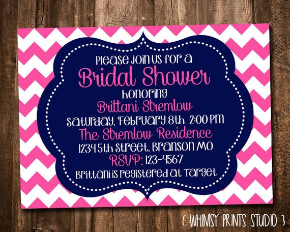 Bridal Shower Invitation Pink Navy Blue Chevron Printable Shower Invite No. 38