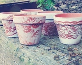 Items Similar To Wedding Favor Mini Pots Lace Painted Flower Pots Planter Pot Succulents Wedding