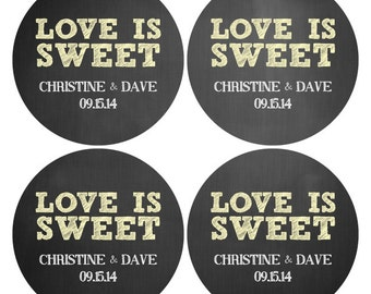 """Personalized Wedding Stickers - 4"""" Wedding Labels - Favors Stickers, Candy Buffet Stickers, Round wedding labels"""