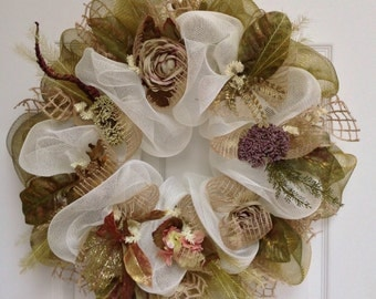 Floral Deco Mesh Wreath Shades of Green Handmade