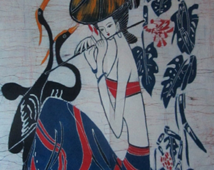 Girl Fluting with Cranes Singing - Chinese Ethnic Batik Painting Tapestry Wall Decor 33 x 27