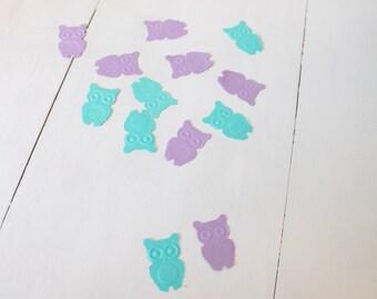 Purple and Aqua Owl Confetti- Baby shower confetti, birthday confetti- comes in a set of 100