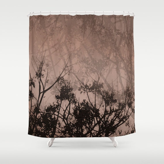 Brown Sky Amp Tree Branches Shower Curtain Washable Fabric