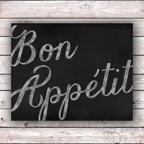 Home Design Ideas Blackboard: Bon Appetit Chalkboard Printable Art Print Kitchen Instant