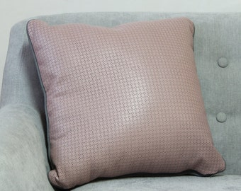 Dusty pink laser cut pleather cushion cover with grey piping - 45cm x 45cm