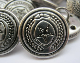 """6 Metal Shank Sewing Buttons 22mm (7/8"""") Military Style Uniform Jacket Coat Metal Buttons"""