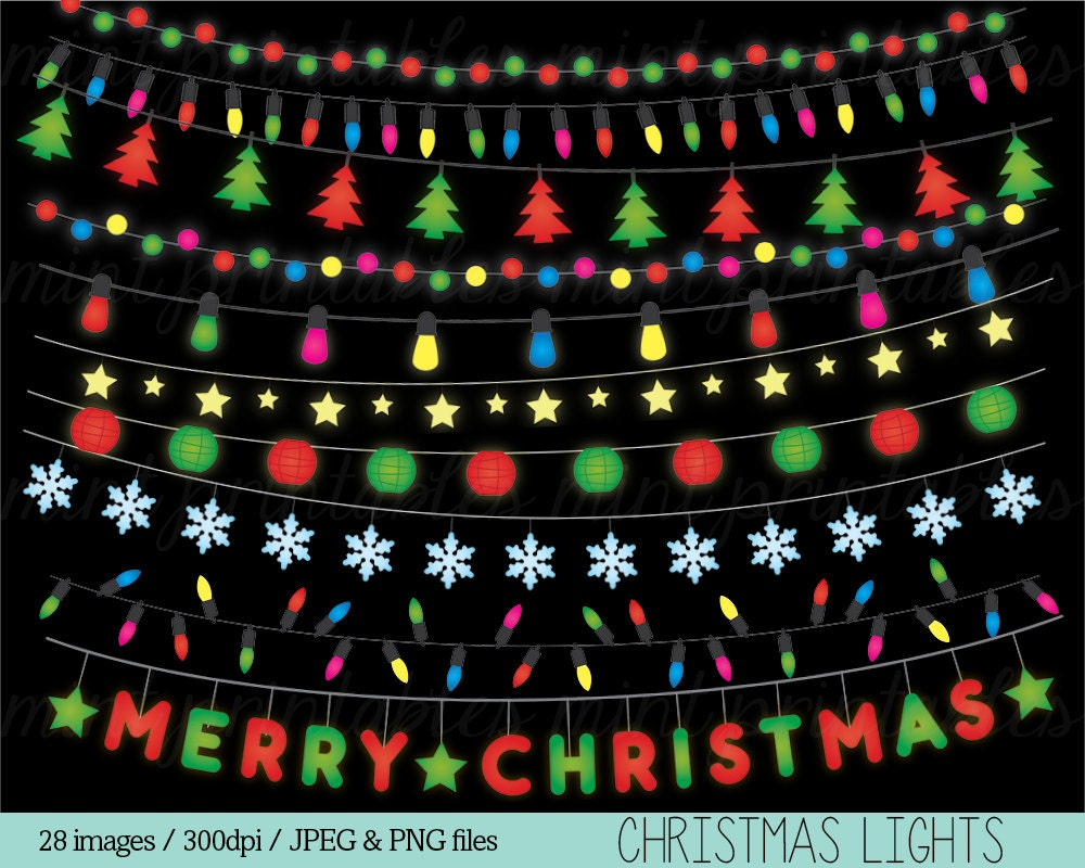String Lights Art : String Lights Christmas Clipart Clip Art Colored by mintprintables