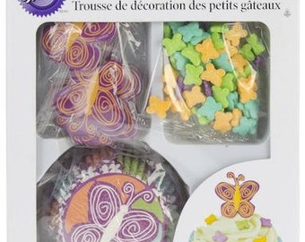 Butterfly Wilton Cupcake Decorating Kit - Cupcake Liners Baking Cups Butterfly Sprinkles Picks
