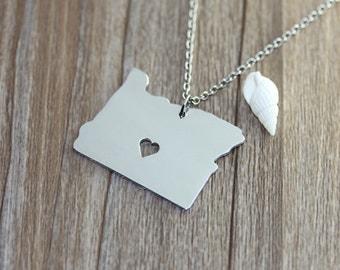 I heart Oregon Necklace - Oregon Pendant - State Necklace - State Charm - Map necklace - Map Jewelry