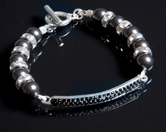 Black Pearl Swarovski Beaded Bracelet