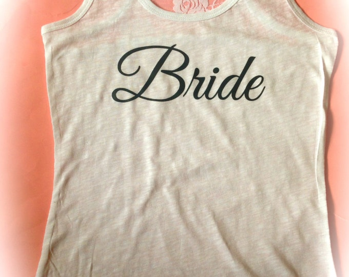 Juniors Bride half Lace Tank Top / Petite Bride Tank Top / Wedding Party Shirts / Bridesmaid LAce Tank tops / Maid of honor / Just Married