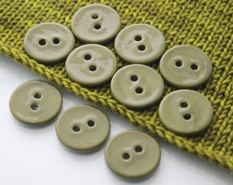 """10 Large Moss Green Ceramic Buttons (27 mm / 1.1"""")"""