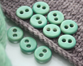 """10 Small Courbet's Green Ceramic Buttons (15 mm / 0.6"""")"""