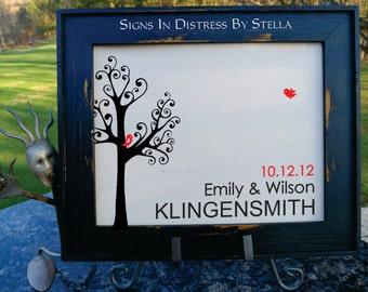 Love Birds, Tree, Wedding, Anniversary, Est. Date, Housewarming Gift, Last Name, Cotton Anniversary, 2nd Anniversary. (AED-LB01)