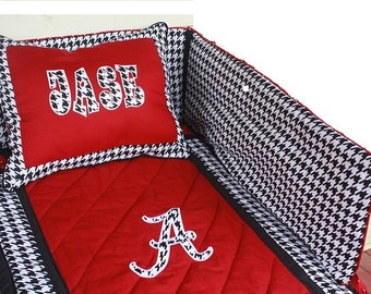Alabama baby bedding | Alabama crib bedding | Alabama baby quilt | Alabama nursery | houndstooth Baby Bedding | Houndstooth Nursery |