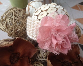 Knit Baby Headband with Pink Chiffon and Lace Flower