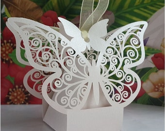 Butterfly Wedding Favor Boxes - White (25pcs)