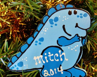 U CHOOSE Name & Date Personalized Blue DINOSAUR ORNAMENT Christmas Holiday Name 2014 Kids Handpainted Handcrafted Wood