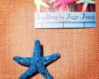 Starfish Hair-clips (Deep sea blue&Glitter)