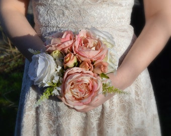 Antique Silk Rose Bridal / Wedding Bouquet, Made from Artificial Flowers