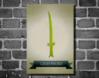 Adventure Time poster movie art finn and jake minimalist poster geekery art print cartoon print grass sword