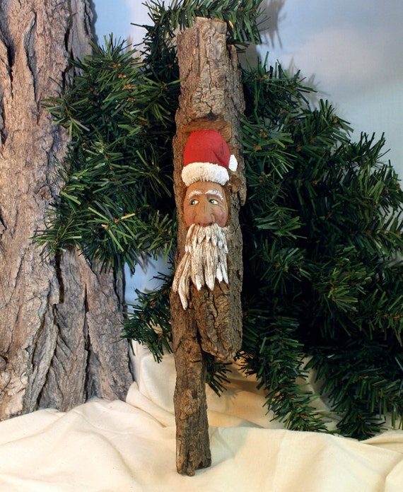 Santa hand carved cottonwood bark gift for by