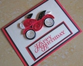 Paper Quilling/ Happy Birthday Card/ Quilled Birthday Card/ Masculine Card/ Bike, Motorcycle, Motorbike/ Card for Dad, husband, boyfriend