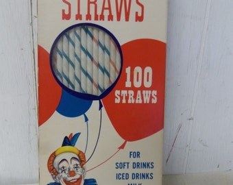 1968 National Soda Straw Co CARNIVAL STRAWS Vintage Striped Paper Straws 100 CT Box