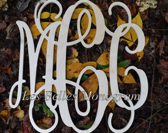 14 INCH Wood Monogram Letter - Great for Wedding, Door and Wall Decor - Unpainted