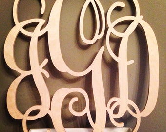 24 INCH Wood Monogram Letter - Great for Wedding, Door and Wall Decor - Unpainted