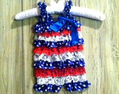 Baby Red White and Blue Romper, 4th of July Outfit, Little Girl Patriotic Wear, Baby Memorial Day Clothes, Little Girl Veterans Day Outfit