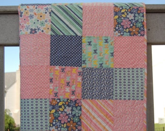 SALE*** Baby girl quilt, crib quilt, pink-green-gray, nursery bedding