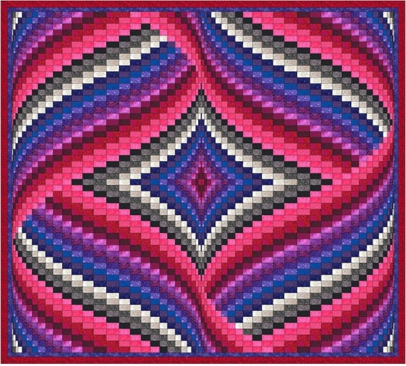 Diamond And Ribbons Bargello Quilt Pattern From