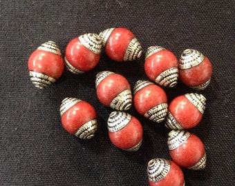 B6 Silver Coral Beads (12pc)