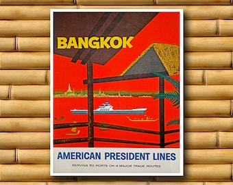 Bangkok Art Thailand Travel Poster Wall Print Decor (AJT11)