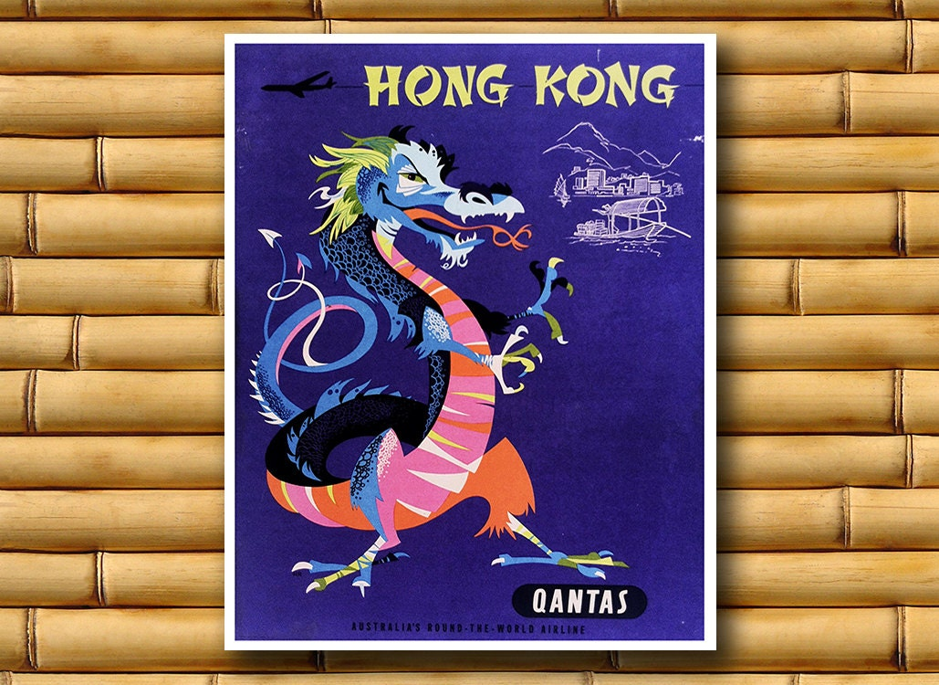 Wall Decoration Hk : Art hong kong poster asian wall decor travel print ajt