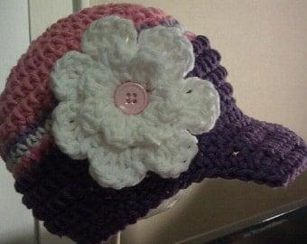 Crochet Baby Hat, Baby Girl Hat, Baby Girl Beanie, Baby Newsboy Hat, Newborn Prop, Newborn Baby Hat, Baby Girl, Sizes Newborn - 12 months
