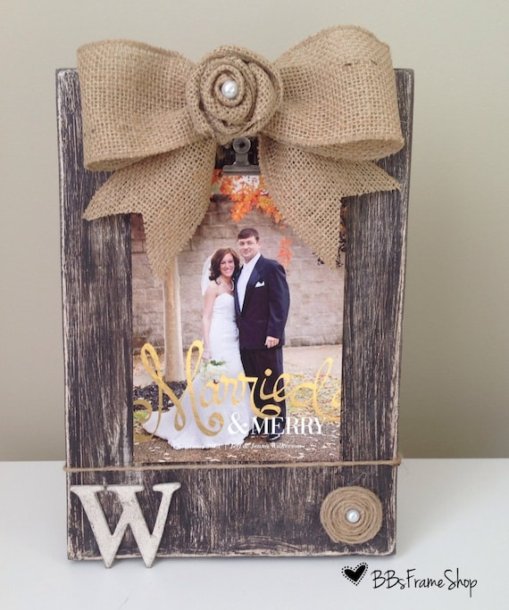 Handmade Distressed Wooden Picture Frame With Burlap Bow