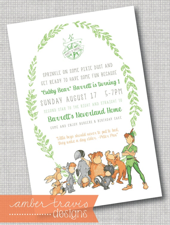 Peter pan and the lost boys invitation never growing up for Peter pan invitation template