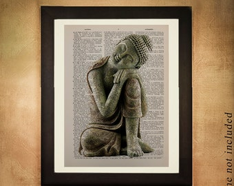 Buddha Dictionary Art Print, Buddhism Zen Meditate Meditation Yoga Statue Religion Upcycled Vintage Book Page da342