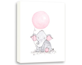 Elephant Illustration - CANVAS - Baby Girl - Nursery Art Print - Watercolor PRINT - Girl Nursery Decor - Art for Children - E459