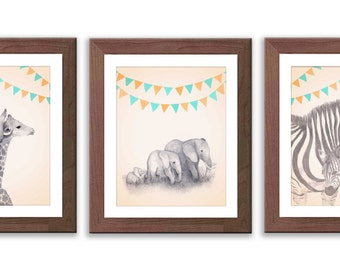 Baby Boy Nursery - Boy's Nursery Art - Safari Animal Wall Art - Safari Nursery Decor - Animal Nursery Art - S002B