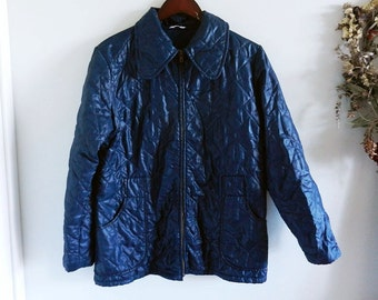 Vintage Navy Blue Quilted Padded Jacket / Autumn Outwear