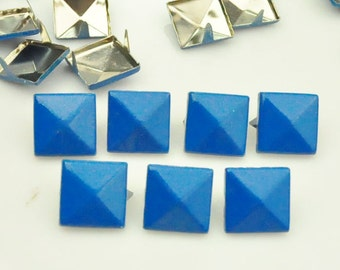 100X 12mm Electric Blue Square Pyramid Spike Rivets Studs Spot Metal Matte Finish For Diy Phone Case Leathercraft material(2 claws)